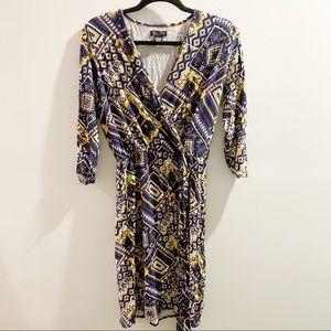 Lucky Brand Blue & Yellow Faux Wrap Dress Medium